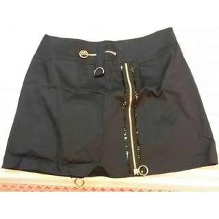 100元含運 MEEILEN(M)棉95%萊卡5% 拉鍊設計裙 深藍色 觸感很好