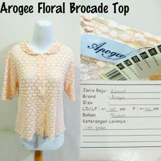 Arogee Floral Brocade Top   Pakaian Wanita   Atasan Import