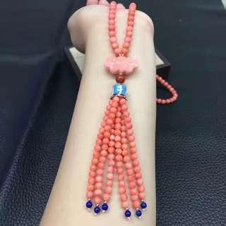 臺灣misu粉珊瑚毛衣鏈!顏色品相如圖美麗!粉嫩均勻!秒殺價 ¥5599,不議價!