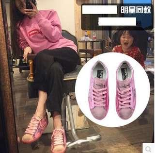 七宿韓國做舊復古星星休閑運動大碼板鞋可愛粉色尾女鞋網紅小臟鞋