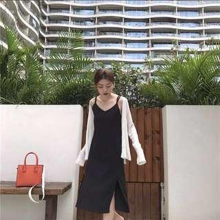 ✨全新 小心機顯瘦 性感露背吊帶中長款 簡約復古洋裝 文青氣質連身裙