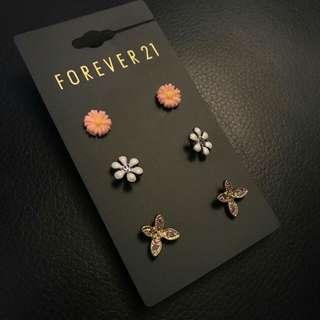 F21 Flowers & Butterfly Earrings (3 pairs)