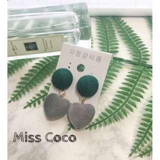 【Miss Coco】現貨 可愛少女絲絨愛心麂皮絨耳環耳飾