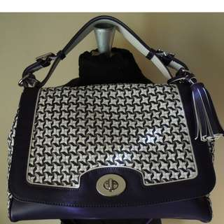 Coach Legacy Canning Leather Romy Top Handle Woven Bag 23411 Color: Chalk / Marine
