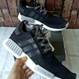 ADIDAS NMD R1 CHAMPS REVLECTIVE BLACK WHITE  UNAUTHORIZED  AUTHENTIC (UA)  BASF BOOST SIZE 40-45  STOCK TERBATAS.