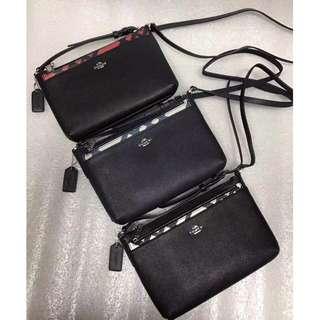 精品代購COACH 22252新款牛皮格子拼色挎包 可拆卸插袋小斜挎