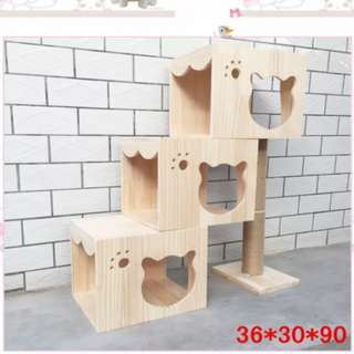 [In Stock] Triple House Solid Wood Staircase Pet house Cat house cat trees Cat condos Cat Playhouse