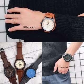🚚 質感造型皮革大鏡面日期錶