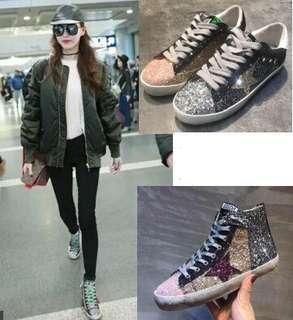 韓國代購2017春款女鞋韓版做舊星星小臟鞋女亮片休閑高幫鞋運動鞋