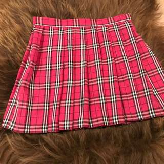 Ever land Clothing. Pink Tartan Pleated Skirt. Size M