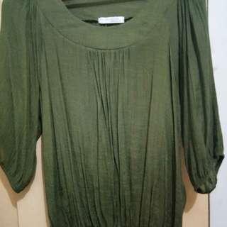 Moss green 3/4 blouse