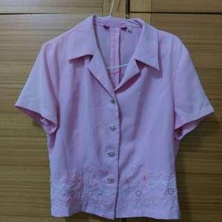 粉紫刺繡外套