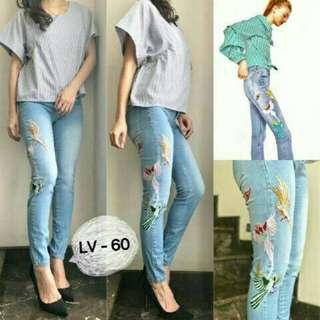 Celana jeans bordir uk 28