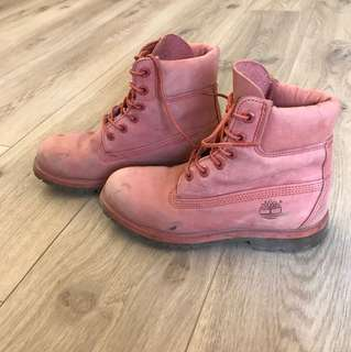 Timberland Trekking Winter Water Resistant Pink Leather Boots