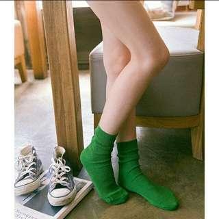 【全新】堆堆襪/帆布鞋百搭款/綠色/長襪/襪子/#舊愛換新歡