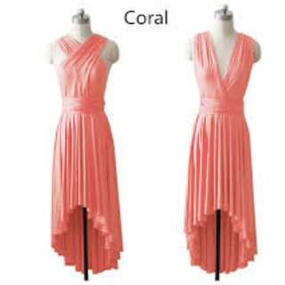 Coral High low Infinity Dress