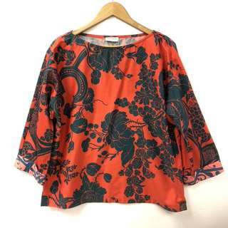 Dries Van Noten orange red with green flowers top size 44