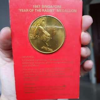 1987 Singapore 'Year of the Rabbit' Medallion