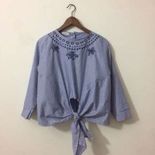 Embroidered Knot Stripes Top