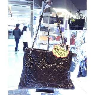 Chanel CC Logo Black Leather Chain Shoulder Hand Bag 香奈兒 黑色 牛皮 皮革 鍊袋 手挽袋 手袋 肩袋 袋