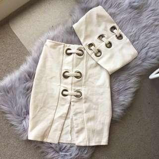 MESHKI Ivory Top & Skirt Set