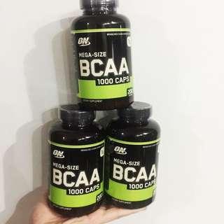 Ready stock optimum nutrition bcaa 1000, 200caps mega size