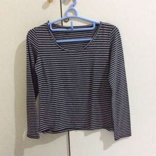 Stripe black long sleeve kaos lengan panjang