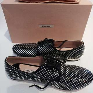NEW Authentic MIU MIU lace up crystals shoes 38.5