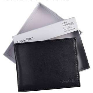 Calvin Klein Leather Passcase Bifold Wallet-Black