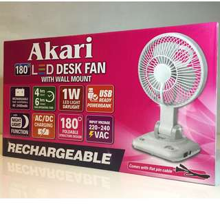 Akari ARF-5869 Rechargeable LED Desk Fan with Wall Mount