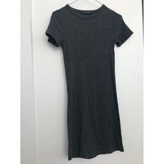 One Size Brandy Melville Tight Grey Ripped T-shirt Dress (fits like xs)