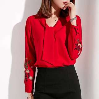 Elegant floral embroidery Long sleeve blouse
