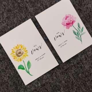 Watercolour Flower Wedding Vows