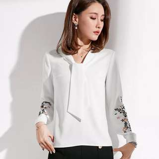 White Blouse with embroidery Long sleeve