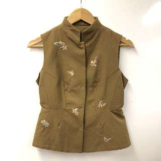 Shiatzy Chen brown with embroideries vest cardigan size F38