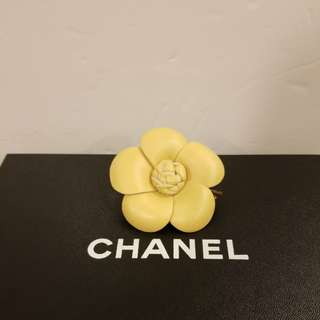 Chanel beige leather brooch