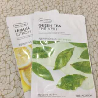 Lemon and green tea face mask