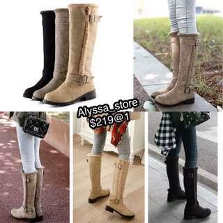 平底靴女裝長雪地靴及膝毛毛款 artificial fur high kneel long boots flat shoes