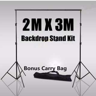 Photography Backdrop Muslin Background Support System 2 Stands + 1 Cross Bar Kit