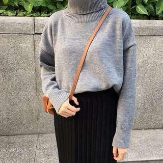 高領毛衣灰色