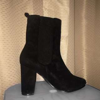 Black Heeled Sock Boots Over The Ankle Mesh Heel Yeezy Style