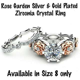 - 💍Rose Garden Silver and Gold Plated Zirconia Crystal Ring