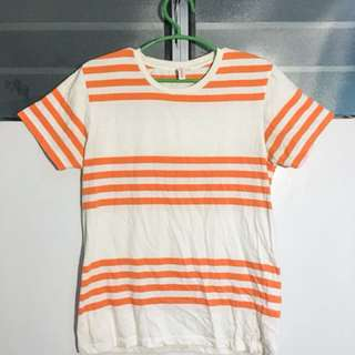 Semi Striped (Neon Orange and White) Shirt