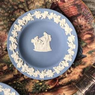 英國製Wedgwood Jasper 水藍碧玉浮雕圓形瓷盤D