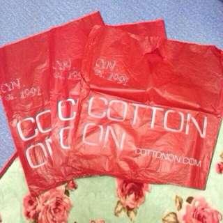 cotton on plastic bags