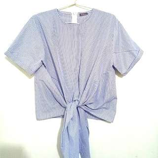Tied blue salur top
