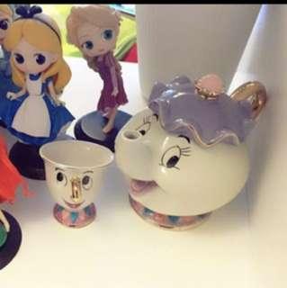全場最平❣️美女與野獸 茶壺 beauty and the beast teapot tea cup Disneyland tea set mother and son 聖誕禮物新年情人節
