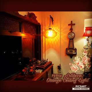 """Very Rare 1970s Hand-Blown Artdeco Ceiling/ Wall Lamp with Internal Diamond Pattern that cast Beautiful Orange Design on the wall. Bright Orange Colour. Good Condition, no chip no crack. Lampshade dia 16"""", 9""""height. $150, sms 96337309."""