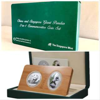 China and Singapore Giant Pandas 2-in-1 Commemorative Coin Set
