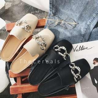 TC1800 Korea Sequins Loafers (Beige,Black)
